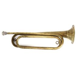 "Early brass bugle marked US Regulation mouth piece marked Reynolds, 16"" long, fair to good overall w"