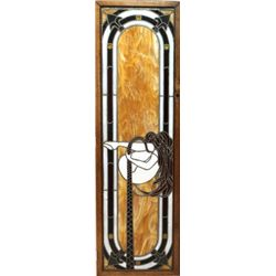 Antique matching stained glass doors in period oak frames. Purportedly from Leadville CO saloon, 18""