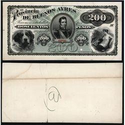 La Provincia De Buenos Ayres, 1869, 200 Pesos Proof Banknote.