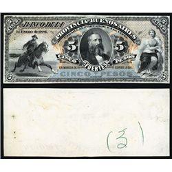 Banco De La Provincia De Buenos Aires, 1881, 5 Pesos Proof Banknote.
