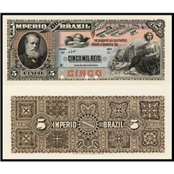 Imperio Do Brasil, Estampa 9, 1888 Issue Proof Banknote.