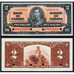 Bank of Canada, $2 1937 Issue Specimen Banknote.
