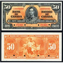 Bank of Canada, $50 1937 Issue Specimen Banknote.