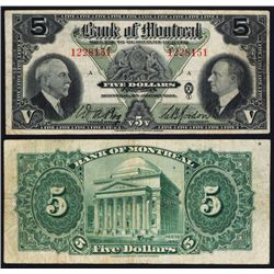 Bank of Montreal, 1935 Issue Banknote.