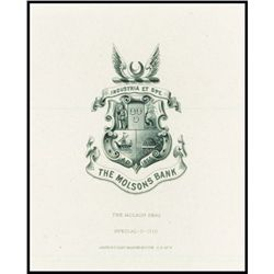 Molsons Bank Arms or Crest Proof Vignette Possibly Used on Banknotes.