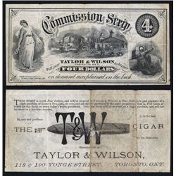 Taylor & Wilson $4 Commission Scrip (Tiffany?) with Cigar Advertising on Back.