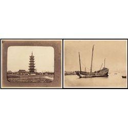 China, Photographs of Pagoda and Chinese Junk Ship ca.1870-90 Albumen Prints.