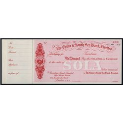 China & South Sea Bank, Limited, Waterlow & Son Specimen Sola of Exchange.