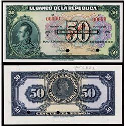 El Banco De La Republica, 1943 Issue.