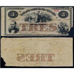 Estado Soberano De Panama, 1866 Issue Banknote.