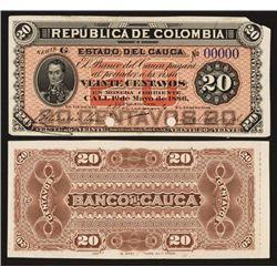 Banco Del Cauca, 1886 Issue Proof Banknote.