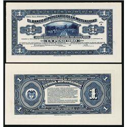 Banco Hipotecario De La Mutualidad, 1919-21 Issue Proof Banknote.