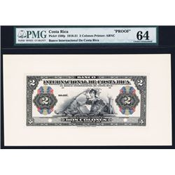 Banco Internacional De Costa Rica 1918-31 Issue Proof Banknote.