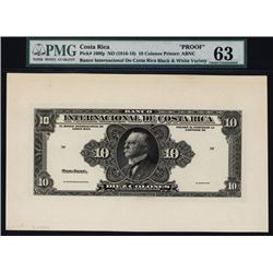 Banco Internacional De Costa Rica 1916-18 Issue Proof Banknote.