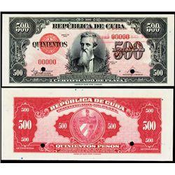 Republica De Cuba - Silver Certificate, 1947 Issue Specimen.