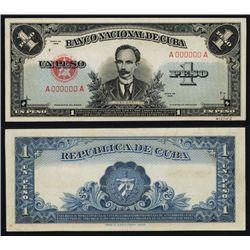 Banco Nacional De Cuba, 1949 1 Peso Essay Specimen Banknote BY TDLR.