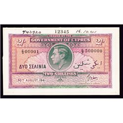 Government of Cyprus, 1941 Issue Specimen.