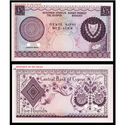 Central Bank of Cyprus, 1966-76 Issue Color Trial Banknote.
