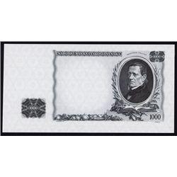 Czechoslovak National Bank Progress Proof Trial Color Banknote.