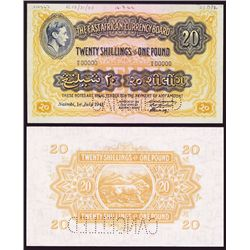 East African Currency Board, 1941 Issue Specimen Banknote.