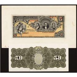 Banco Comercial Y Agricola, 1907-25 Issue Proof Banknote.