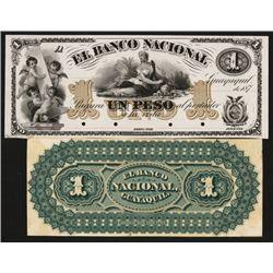 Banco Nacional, 1871 Issue Color Trial Proof Banknote.