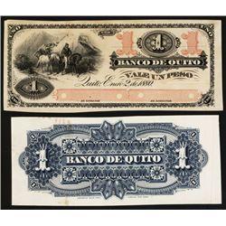 Banco De Quito, 1880 Issue Proof Banknote.
