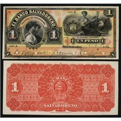 Banco Salvadoreno 1899 Issue Proof Banknote Used in Counterfeiting Security Department.