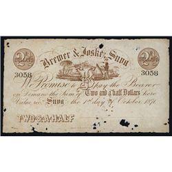 Brewer & Joske Suva 1871, $2&1/2 Unissued Banknote.