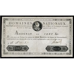 Assignats, Domaines Nationaux, 1791 First Issue.