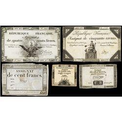 Republique Francaise, 1792 Issue Assignat Assortment.