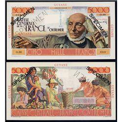 Caisse Centrale De La France D'Outre-Mer, Guyane, 1947-49 Issue Specimen Banknote.