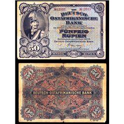 Deutsch-Ostafrikanische Bank, 1905 Issue Banknote.