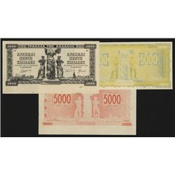 Bank of Greece, 1942 Inflation Issue Progress Proof Trio.