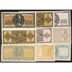 Bank of Greece, 1943 Inflation Issue Progress Proof Group of 9.