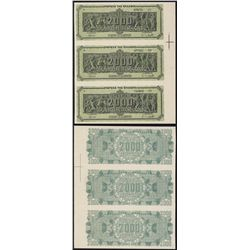 Bank of Greece, 1944 Inflation Issue Uncut Specimen Strip of 3 Notes.