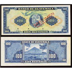 Banco De Guatemala 1955-58 Issue Specimen Banknote.