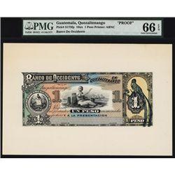 Banco de Occidente En Quetzaltenango Proof Banknote.
