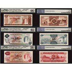 Bank of Guyana, 1966 ND Issue Specimen Trio.