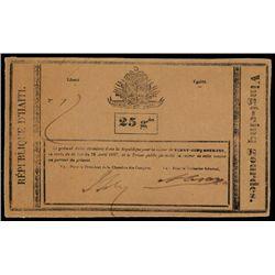 Republique D'Haiti, 1827 Issue Banknote.