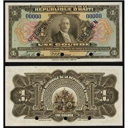 Banque Nationale De La Republique D'Haiti ND ca.1935-42 Specimen Banknote.