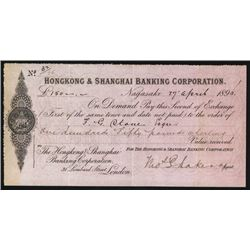 Hongkong & Shanghai Banking Corporation, 1896 Bill of Exchange Issued in Nagasaki.