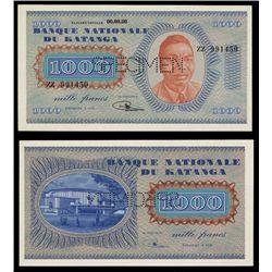 Banque Nationale Du Katanga, 1000 Francs Specimen Banknote.
