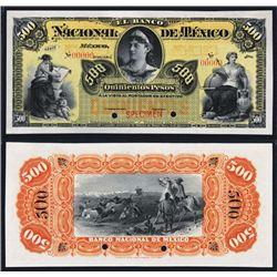 Banco Nacional De Mexico, ND (1895-1913) Issue Specimen.