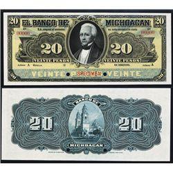 El Banco De Michoac‡n, 20 Pesos 1903 Issue Specimen.