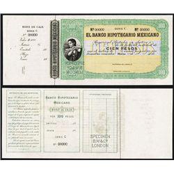 Banco Hipotecario Mexicano, Bono De Caja 1870-80 Specimen Color Trial Banknote.