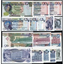 Bank of Ireland 1980 to 2008 Issue Banknote Group of 8.