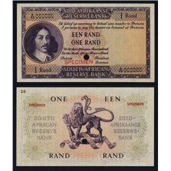 South African Reserve Bank 1961-65 Color Trial Specimen Banknote.