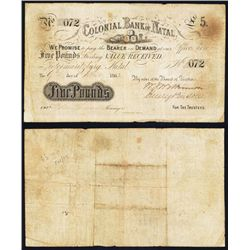 Colonial Bank of Natal, 1862 £5 Issued banknote.