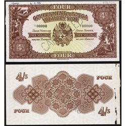 Government of Tonga, ND (1953) Issue Specimen Banknote.